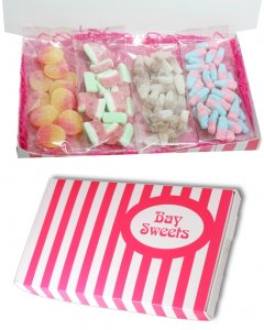 Gift Sweets- Pick and Mix Fizzy Sweets Selection- 125g Fizzy Cola Bottles, 125g Fizzy Bubblegum Bottles, 125g Fizzy Peaches, 125g Watermelon Slices
