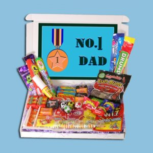 Number 1 Dad Mini Retro Sweets Box - Fathers Day