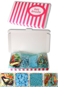 Gift Sweets - Boys - 125g Bubblegum Millions, 125g Sour Blue Rasperry Bonbons, 125g Psycho Mice, 2 Yellow Belly Snakes & 1 Crocodile