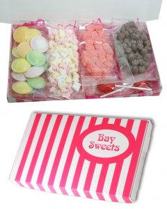 Gift Sweets- Retro Sweets from the 70s Selection- 125g ABC Candy Letters, 125g Kola Kubes, 125g Chewing Nuts, 15 Flying Saucers, 2 Mega Traffic Light Lollies