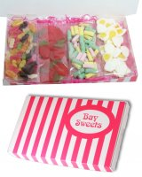 Gift Sweets- Pick and Mix Haribo Sweets Selection- 125g Giant Strawberries, 125g Rhubarb and Custards, 125g Fried Eggs, 125g Mini Jelly Babies