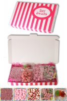Gift Sweets - Girls - 125g Strawberry Millions, 125g Cherry Bonbons, 125g Haribo Rhubarb & Custards,125g Strawberry Twist Kisses & 2 Mega Lollies (Traffic Light & Tropical)