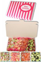 Gift Sweets - Traditional Sweets - 125g Chocolate Limes, 125g Rhubarb and Custards, 125g Rosy Apples, 125g Barley Sugars