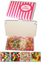 Gift Sweets - Pick and Mix Selection - 125g Mini Jelly Babies, 125g Chocolate Beans, 125g Dolly Mixture, 125g Jelly Teddies